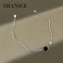 925-Sterling-Silver Bracelets Anklet Foot-Jewelry Cuban Link-Chain Girls Women for Fashion