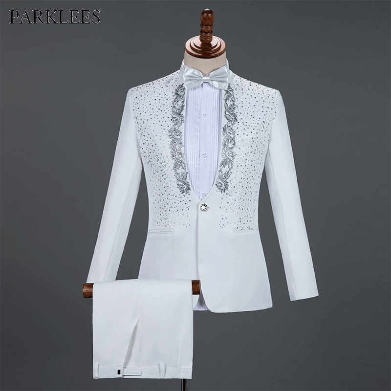 White Sparkly Crystals Embroidery Mens Suits With Pants Wedding Groom Tuxedo Suit Men Stand Collar Stage Costume Homme Mariage