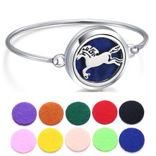 Horse Locket Bracelet Bangle Christmas Stainless Steel Essential Oil Diffuser Perfume Aromatherapy