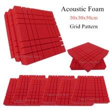 6/12Pcs 300x300x50mm Studio Acoustic Foam Grid Pattern Soundproofing Protective Sponge Sound-Absorb Foam Sealing Panel Red