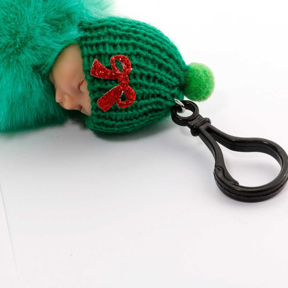 Bonito dormir bebê fofo pele de pelúcia boneca pingente chaveiro chaveiro bolsa decoração