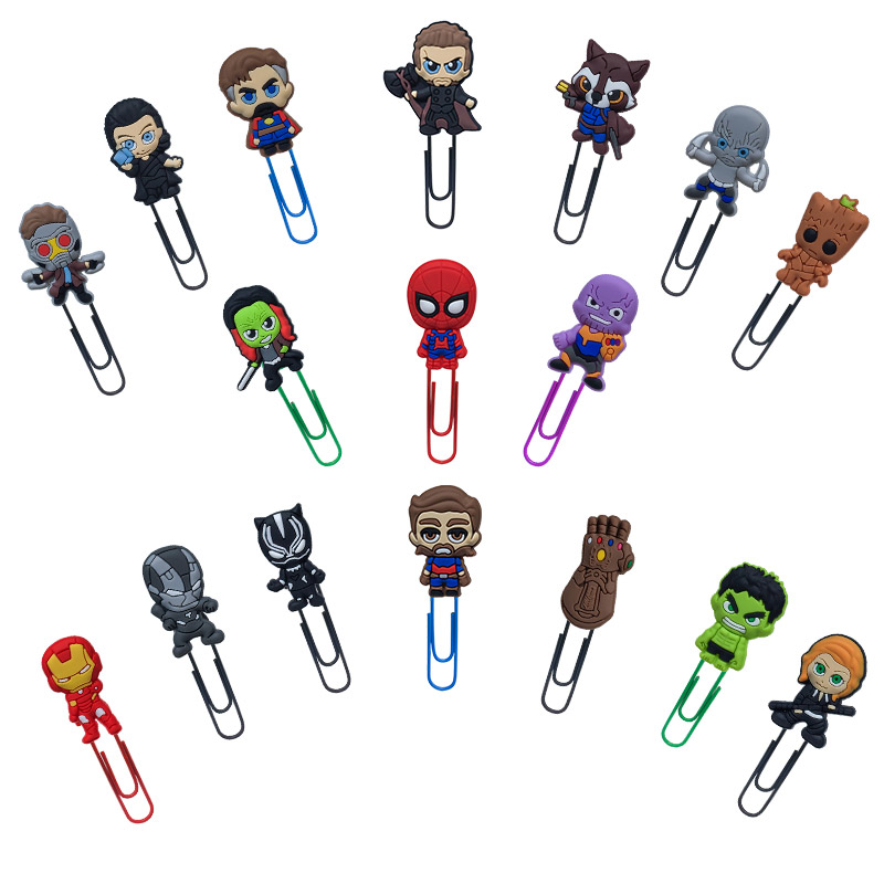 1Pcs Cartoon Avengers Infinite War Figures Bookmark For Books Paper Clip School Supplies DIY Decoration For Kids Gifts