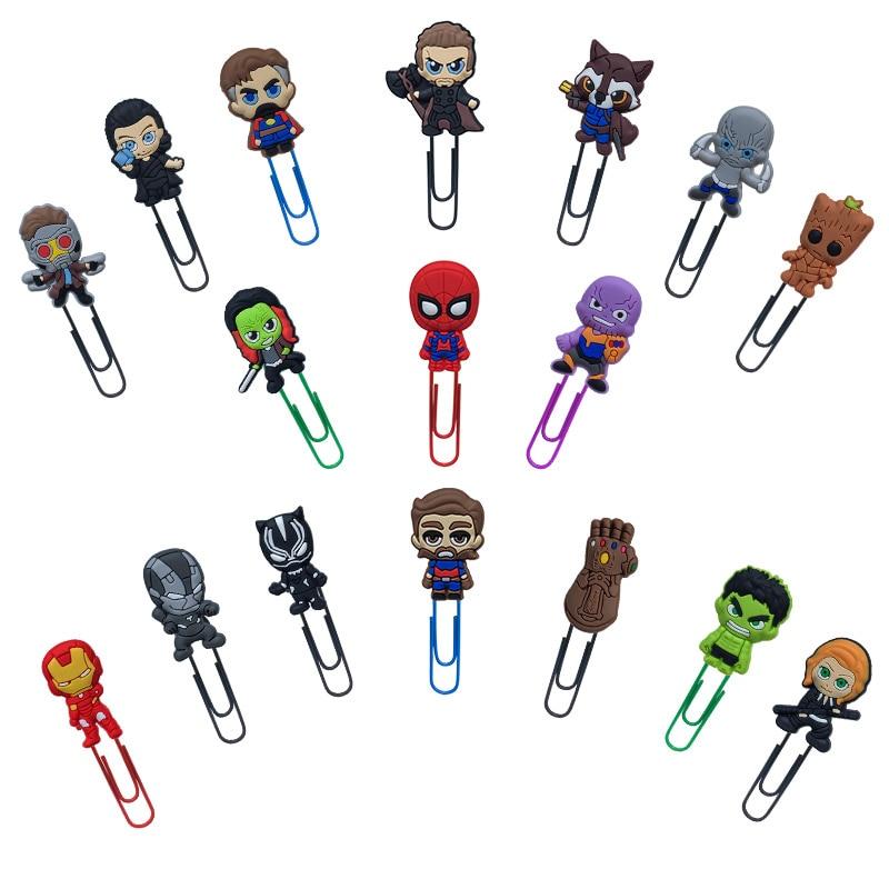 50Pcs Cartoon Avengers Infinite War Figures Bookmark For Books Paper Clip School Supplies DIY Decoration For Kids Gifts