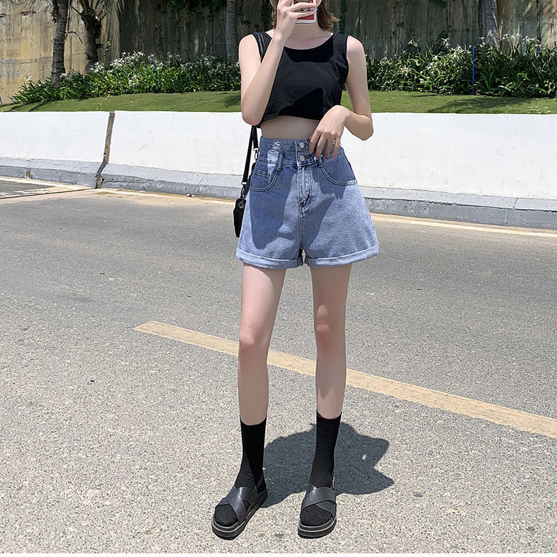 High Waisted Blue Wide Leg Women's Denim Shorts Classic Vintage Casual Female 2021 Summer Ladies Short Jeans for Women Y764 5