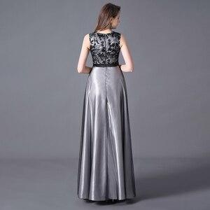 Image 4 - Evening Dress A line Floor Length Sleeveless Elegant Evening Party Gowns with Zipper Back Belt Wedding Guest 2020 Queen Abby