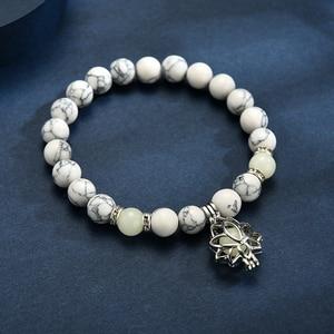 Image 5 - Pulsera luminosa que brilla en la Luna oscura con forma de flor de loto, pulsera para hombre y mujer, Yoga, oración, budismo, Joyas de piedras Natural