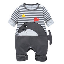 Infant Baby Cartoon Whale Strampler 2019 Herbst Neugeborenen Jungen & Mädchen Lange Hülse Striped Cartoon Romper Overall Overall Kleidung(China)