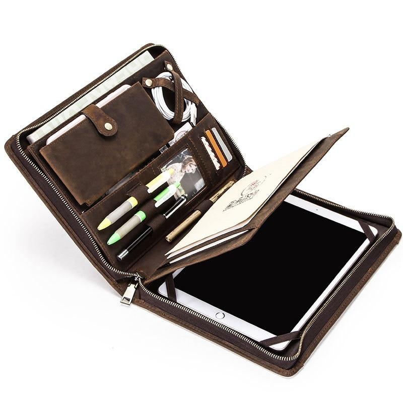 Rétro cuir étui pour ordinateur portable pochette pour iPad Pro 10.5 Air 3 11 2019 tablette protecteur pour iPad 9.7 Air 2 porte-Journal à glissière