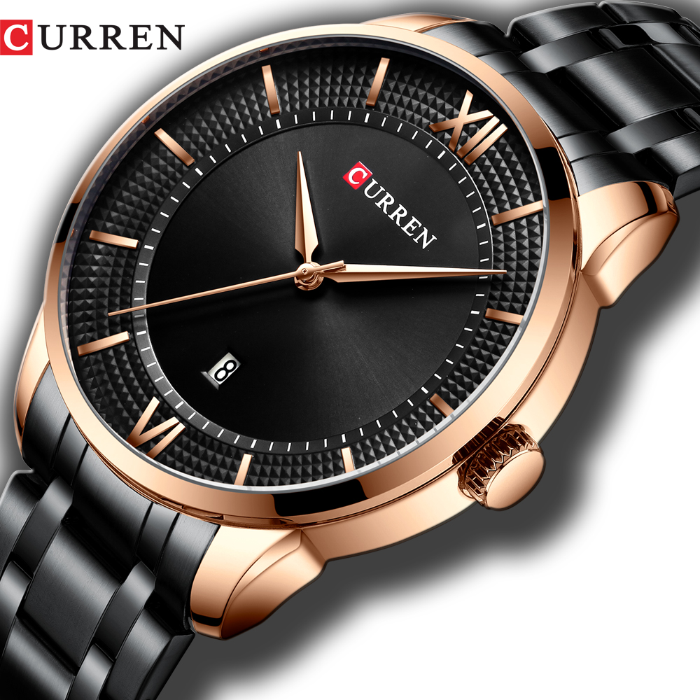 CURREN Men's Watches Top Brand Luxury Fashion Style Quartz Wrist Watch Auto Date Busines Stainless Steel Male Clock Reloj Hombre