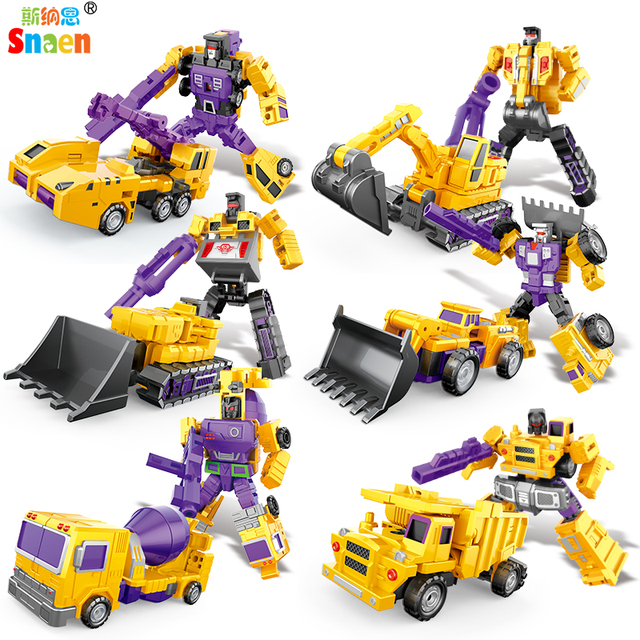 Transformation Robot Action Figures Diecast Engineering Deformed Toy Cars Blocks Assemble Educational Toys for Childrens Boys 3
