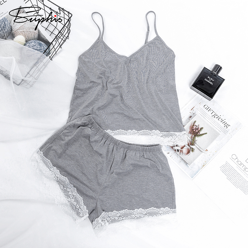 Suphis V Neck Gray Pajamas Top And Shorts Lace Summer Pajamas Woman Knitted Two Piece Set Camis Casual Pyjamas Women Cotton Sexy