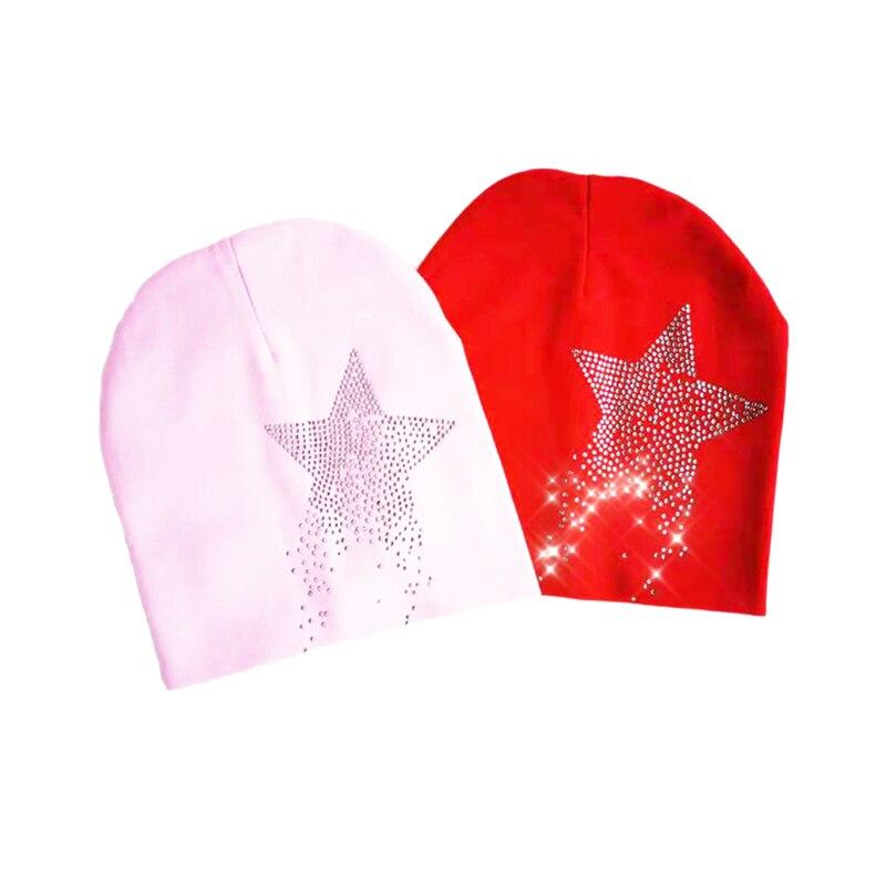 Детская осенняя шапка со звездами и стразами для маленьких девочек, шапка для мальчиков, Детская Хлопковая шапочка, детская шапка для мальч...