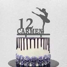 Персонализированный Топпер для танцевального торта с именем на заказ, танцующая балетная фигура для маленькой девочки, украшение для дня р...