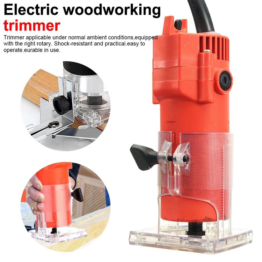 1pcs Electric Trimmer Wood Tool 220V 110V 1300W Wood Laminate Router 30000rpm Trimming Carving Milling Machine For Woodworking
