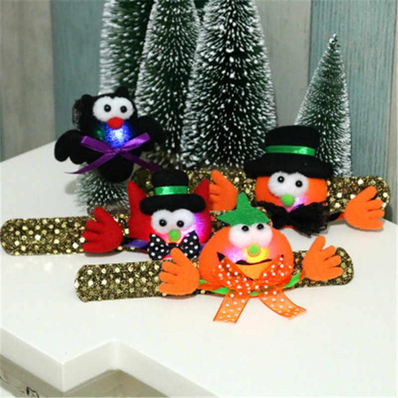 1 шт. Хэллоуин декорационная игрушка тыква летучая мышь призрак Пэт Круг детский светящийся браслет из блесток с подсветкой застежка подарок Горячая