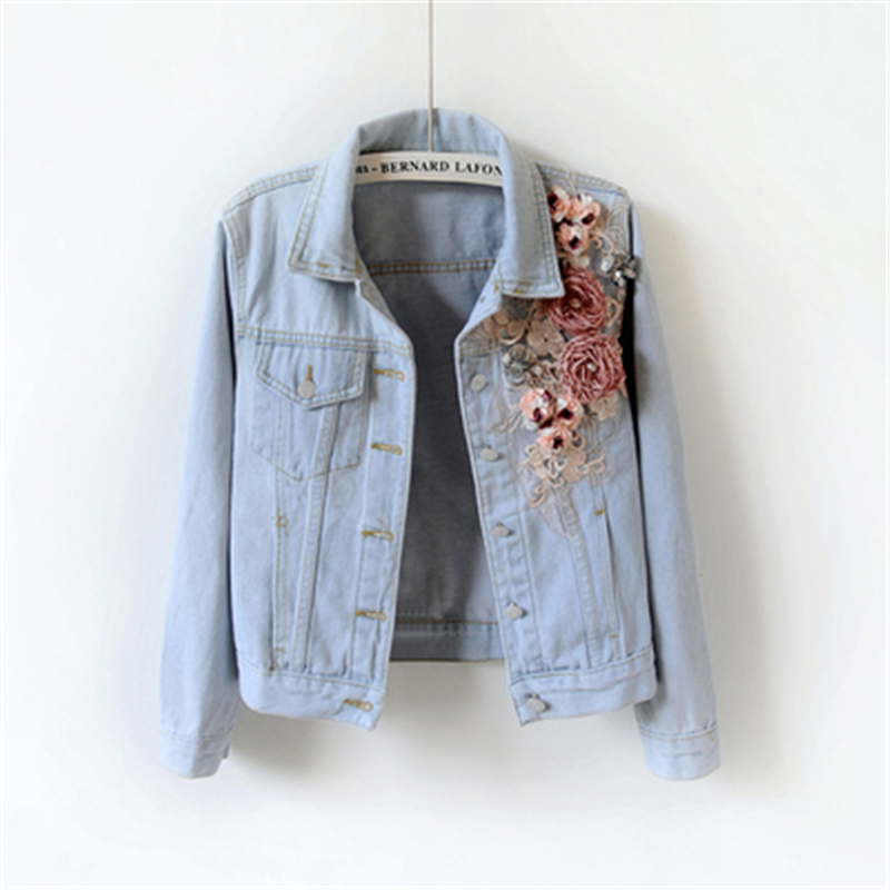 2020 Luxury Women Streetwear Short Jeans Jackets 3D Flower Stereoscopic Appliques Beaded Sequined Denim Jackets Coat Casual Girl