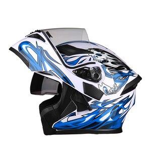 Image 5 - New Modular Motorcycle Helmet Flip up Capacete da Motocicleta Cascos Motorcycle Helmet Kask Bar Double Visors Men Racing Helmets