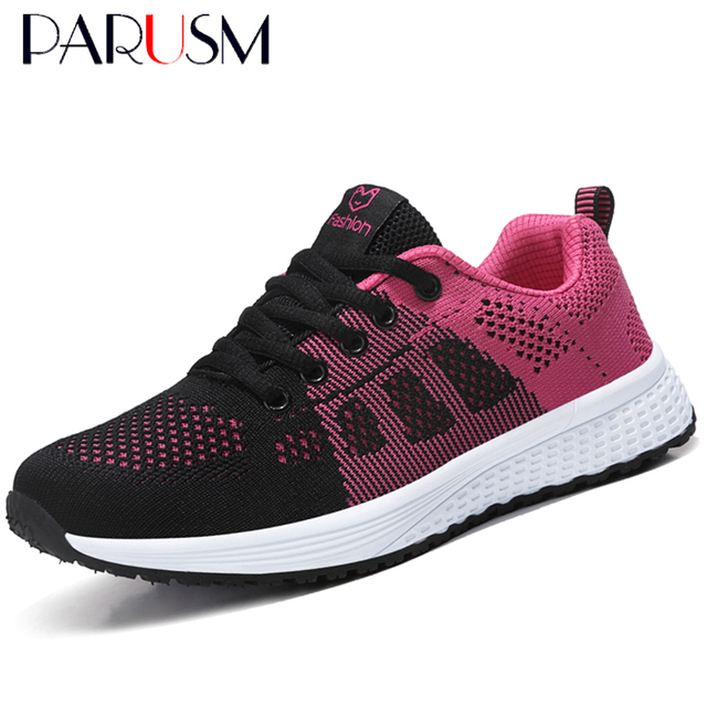 2019 New Women Shoes Flats Fashion Casual Ladies Shoes Woman Lace-Up Mesh Breathable Female Sneakers Zapatillas Mujer 1