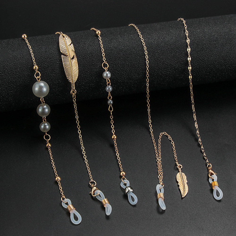 1Pcs Metal Eyeglass Chains Pearls Sunglasses Holder Necklace Non-Slip Glasses Lanyard Strap Leaves Fashion Eyewear Accessories