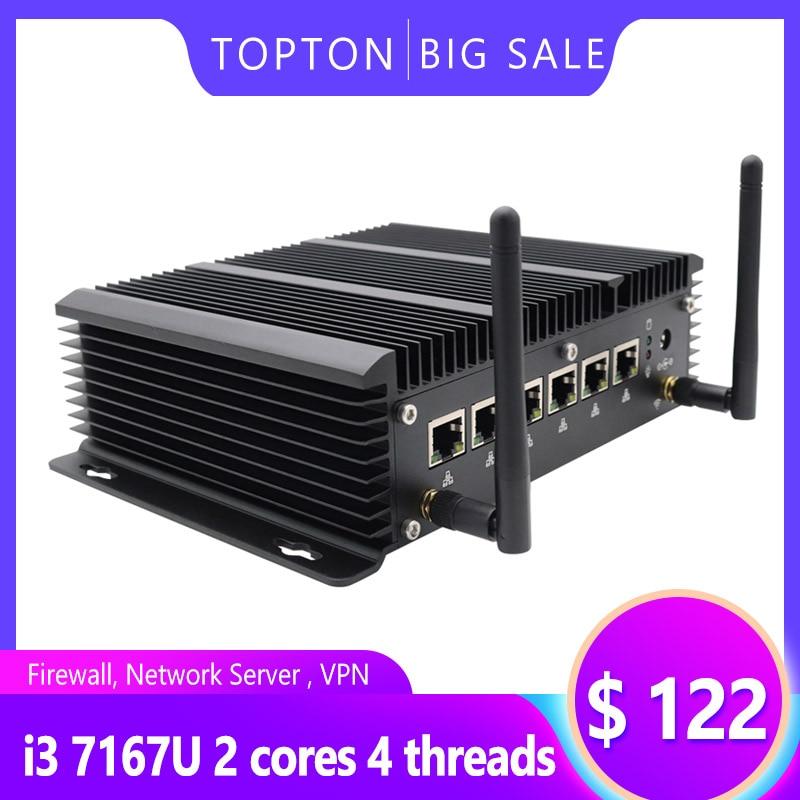 Fanless 6 Lans Industrial Mini PC Intel Core I5 7267U I3 7167U 3865U Firewall PC Pfsense Router 4*USB3.0 2*RS232 HDMI 4G/3G WiFi