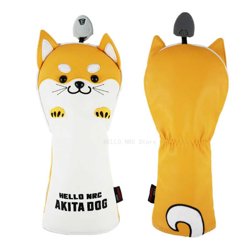 Головные уборы для гольф-клуба, 1 шт., деревянные гибридные Чехлы для водителей, милые Мультяшные животные AKITA DOG 460c