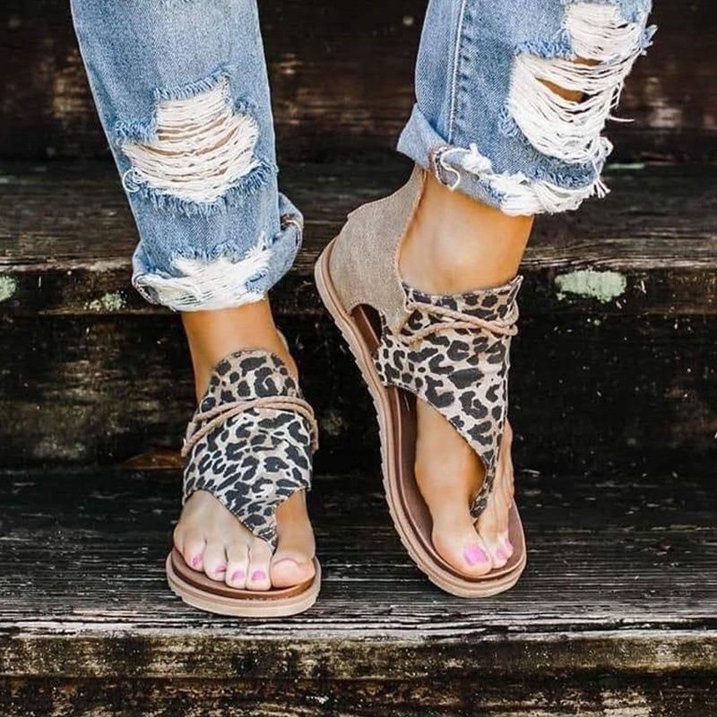 2020 Top seller - Women sandals Leopard Pattern Large Size Rome Sandals Women's Anti-slip Hot Selling Wedges Summer shoes(China)