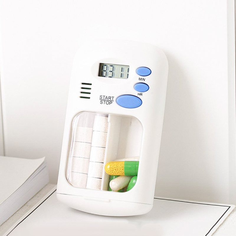 2 Blocks Medicine Separated Pill Box Case Pill Organizer With Timer Alarm CL1