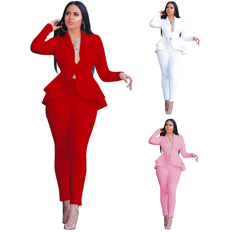Women Work Wear White Blazer 2 Piece Set Full Sleeve Ruffles Blazers Pants Suit Two Piece Set Office Lady Outfits Office Wear