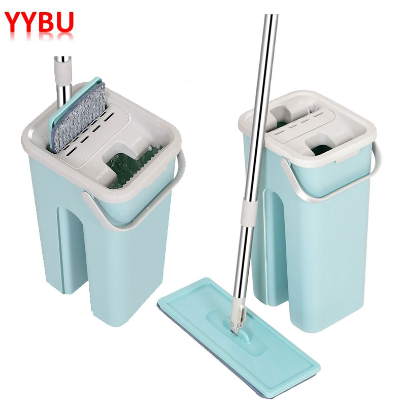 YYBU Drop Shipping Floor Mop with Bucket Hand Free Washing Flat Squeeze Lazy Mop Home Kitchen Floor Cleaning Mops|Mops| |  - title=