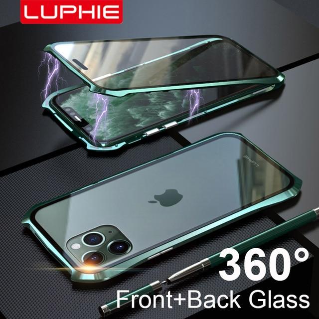 מקורי Luphie 360 מלא מגנטי מקרה עבור iPhone 11 פרו מקסימום 9 שעתי מזג זכוכית נייד טלפון כיסוי עבור iPhone 11 מקרי פרו