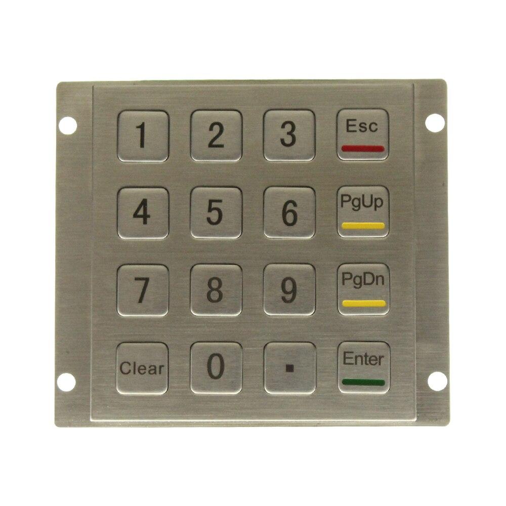 Metal Keypad Vandal Proof Rugged Panel Mount Stainless Steel Keyboard For Kiosk USB Industrial Numeric Keypad With 16 Keys 4*4