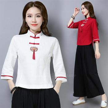 Kobieta Retro chiński topy styl narodowy Vintage pomponem bawełniane lniane koszule pani lato regulowane zapięcie orientalna herbata koszula tanie i dobre opinie COTTON Linen WOMEN Sukno Chinese Tops One Shirt