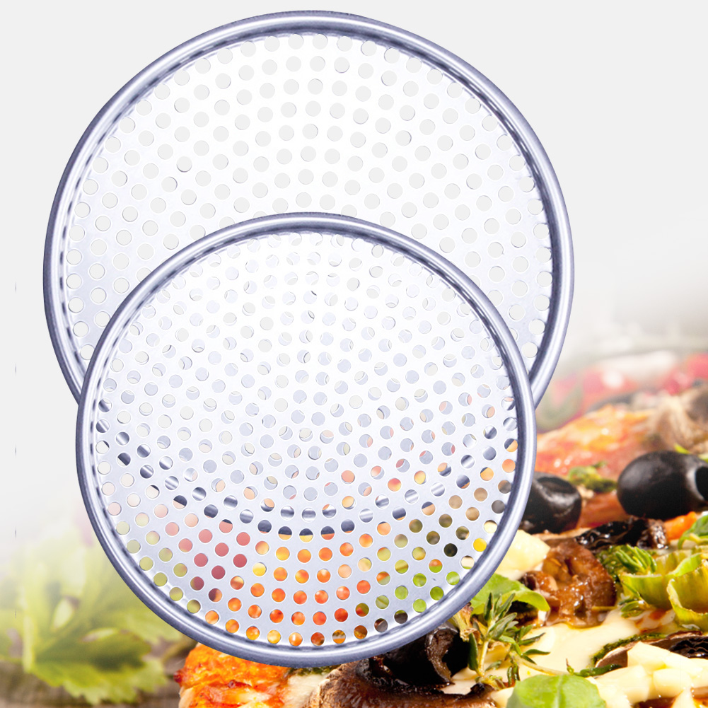 8/9/10/12inch Aluminum Round Pizza Nonstick Baking Pan Tray Kitchen Tools Plate Accessories Dishes Holder Bakeware Even Heating