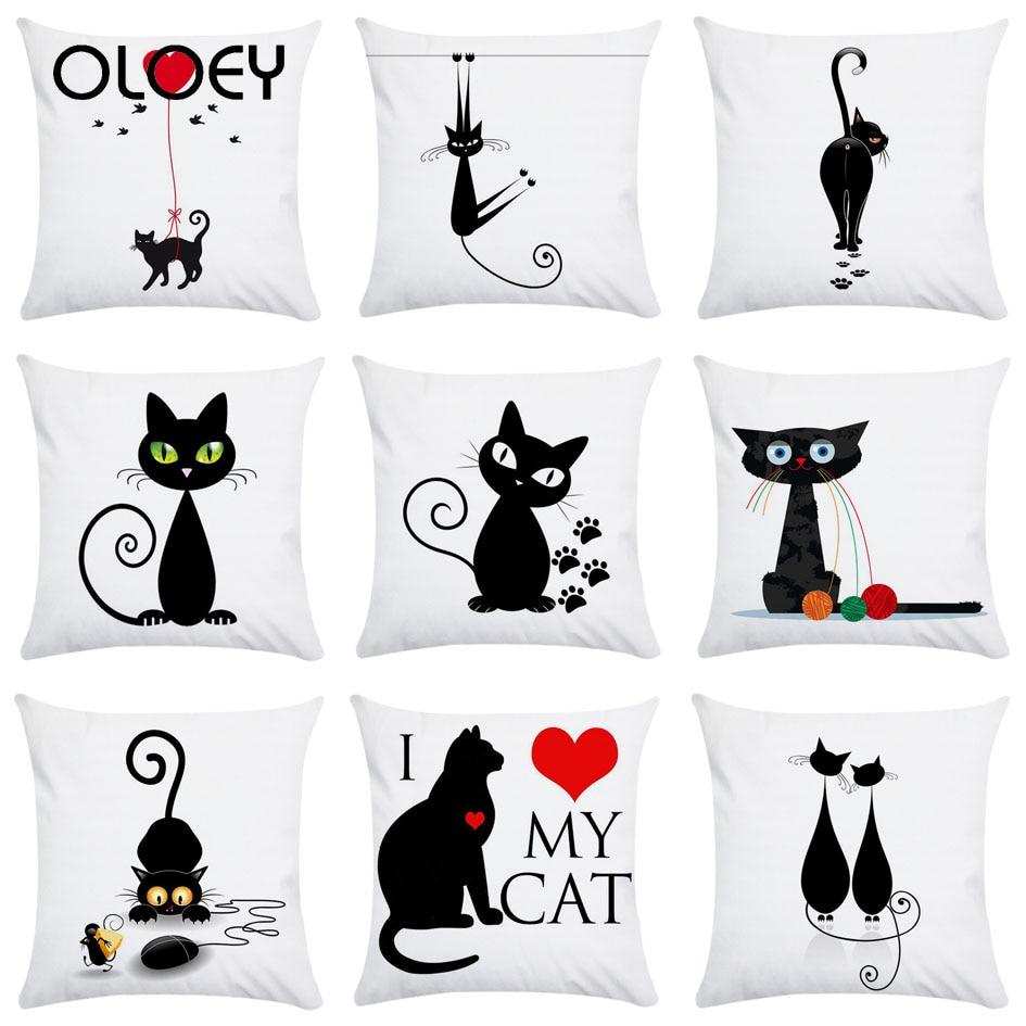 Cartoon Black Cat Super Soft Polyester Home Pillowcase Decoration Living Room Pillowcase Hotel Car Decoration Soft Pillowcase  .