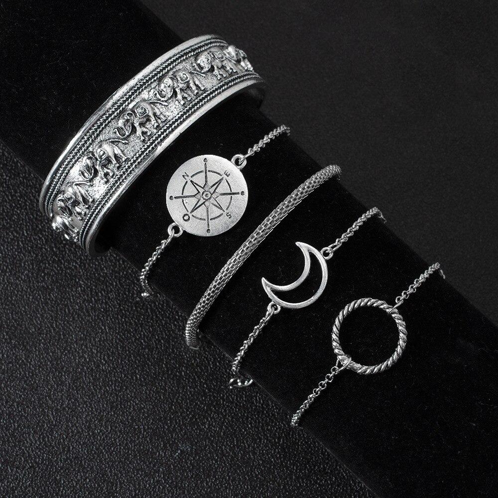 DIEZI Bohemian Vintage Men Silver Color Chain Bracelet Sets Boho Statement Compass Moon Circle Elephant Charm Bracelets Women