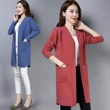 2020 nova senhora camisola moda médio longo cashmere cardigan feminino solto camisola para outerwear feminino casaco com bolsos a102