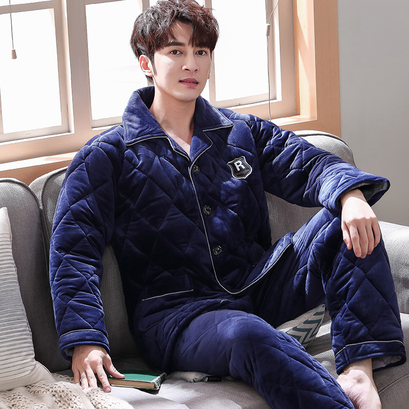 Men Pajamas Set Winter 3 Layers Quilted Pyjamas Suits Thick Coral Fleece Plus Size Sleepwear Night Suit Men Nightwear Loungewear