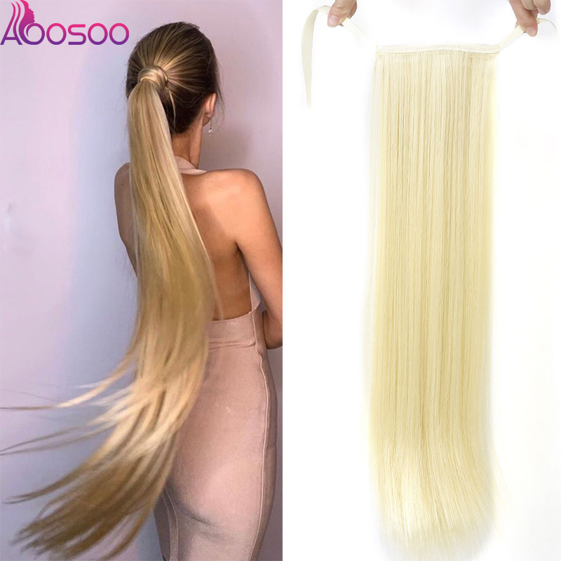 Hairpiece Extension-Wrap Ponytails Fake-Hair Silky Clip-In Heat-Resistant Straight Long title=