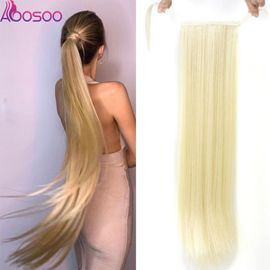 Long Silky Straight Ponytails Clip In Synthetic Pony Tail Heat Resistant Fake Hair Extension wrap round hairpiece 18-32 inch(China)