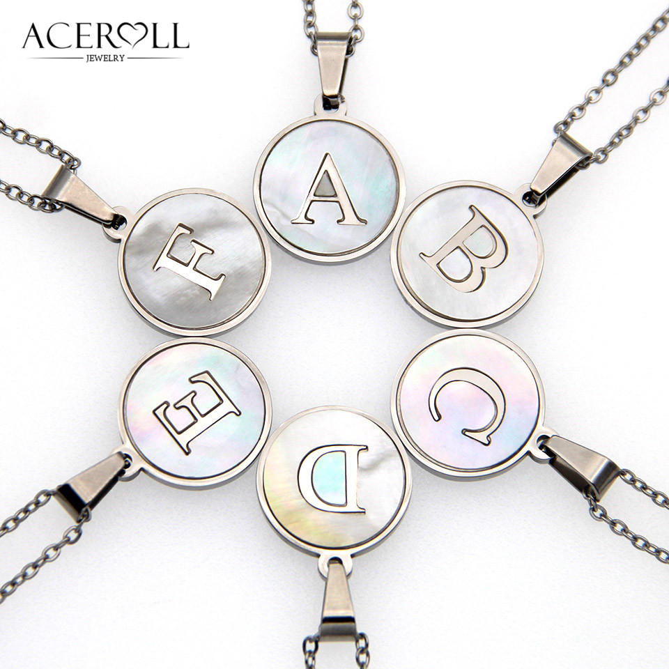 ACEROLL Stainless Steel Initial Letter Pendant Necklace with Mother of Pearl in Silver Color for Women, Alphabet Name