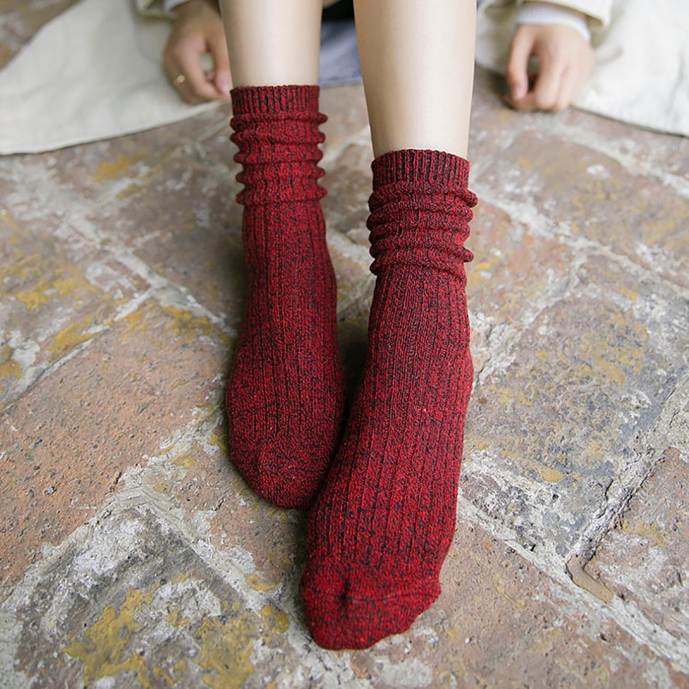 Thick Winter Warm  Socks Soft Cotton Knitted Long Tube Socks Students Harajuku Pile Heap Funny Socks