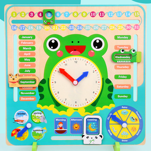 Image 4 - Montessori Wooden Toys Baby Weather Season Calendar Clock Time Cognition Preschool Educational Teaching Aids Toys For Children