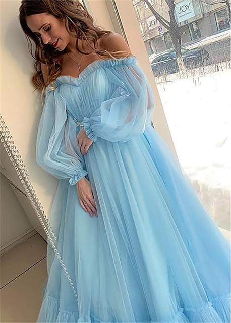 LORIE Blue Prom Dresses Long Sleeve Off the Shoulder Princess Dress 2020 Tulle Lace-up Formal Evening Party Dresses Plus Size 3