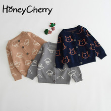 Baby Cardigan Sweater Jacket Knitted Pure Cotton Sweater Baby Girl Winter Clothes Little Girls Knitted Sweater
