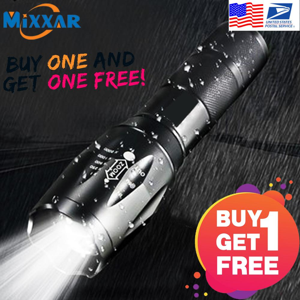 EZK20 Dropshipping LED Flashlight Super Bright Tactical 5 Mode Flashlight T6 LED Zoomable Torch Lamp Light(BUY 1 GET 1 FREE)
