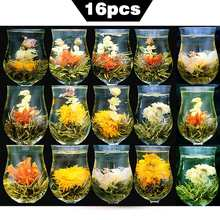 China Tea 16 Pieces Blooming Tea Different Flower Tea Handmade Flower Chinese Flowering Balls Herbal Crafts Flowers Gift Packing(China)