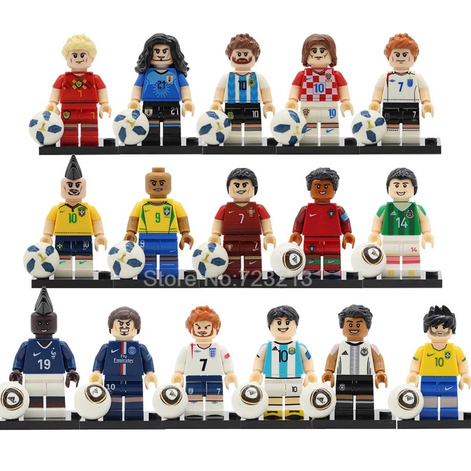 Single Sale Football Player Figure Model Building Blocks Kits Brick Toys