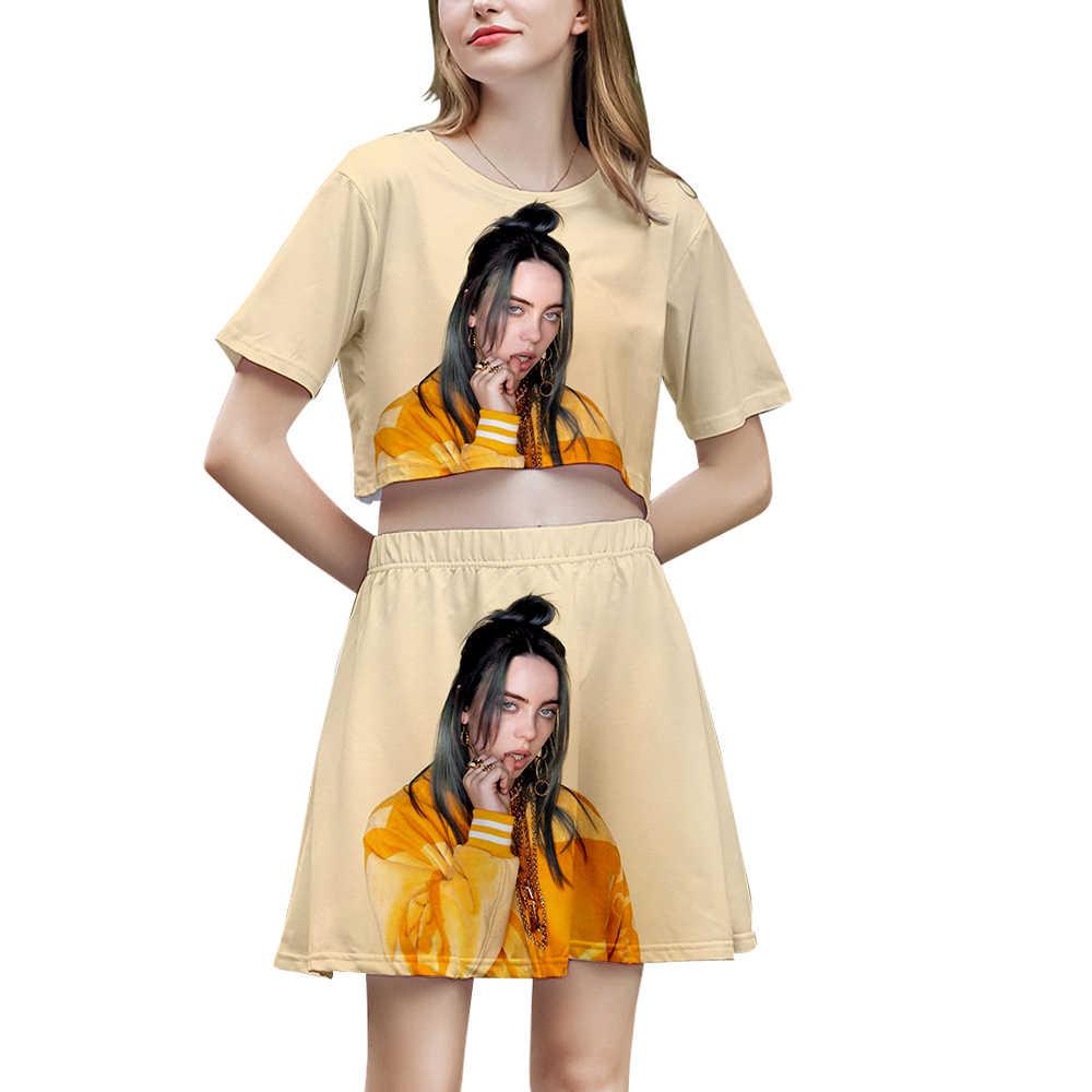 Billie Eilish Nude billie eilish nude navel 3d t shirt + 3d short skirt ladies two-piece  fashion billie eilish girls head t-shirt summer girl suit