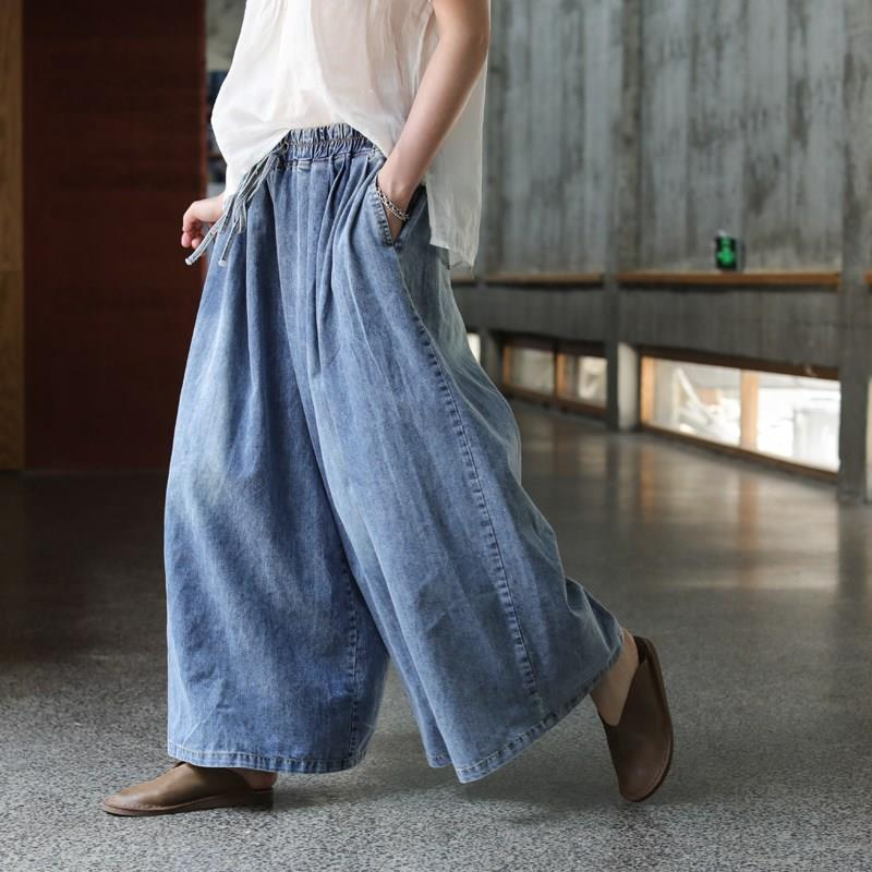 Women Loose Denim Jeans Pants Female  Casual Trousers Pockets Plus Size Solid Color Wide Leg Pants