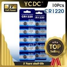 Cr1220 br1220 ecr1220 lm1220 3 v 210 mah bateria da moeda do botão de lítio em 10 pces pacote de varejo para o relógio, brinquedo